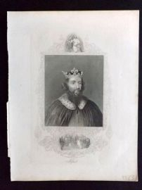 Barclay C1840 Antique Portrait Print. King Alfred.